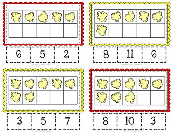 Ten Frame Clip Task Cards 1 to 20 Popcorn Theme