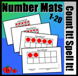 Ten Frame Count It, Spell It Mats 1-20 (With Red Counters)