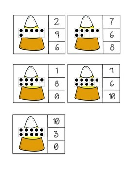 Ten Frame Count and Clip - Candy Corn/Halloween