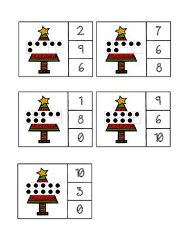 Ten Frame Count and Clip - Christmas Trees/Christmas