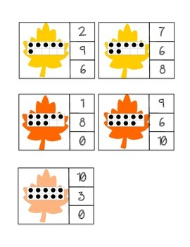 Ten Frame Count and Clip - Fall Leaves