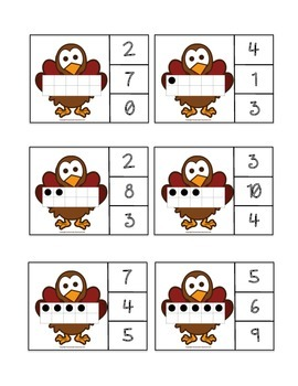 Ten Frame Count and Clip - Turkeys/Thanksgiving