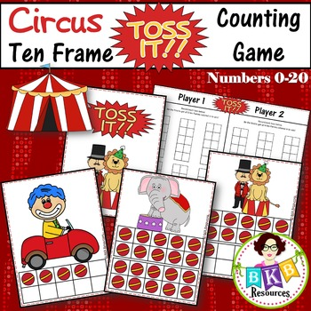 Ten Frame Counting Game - Circus Themed Toss Up! Card Game