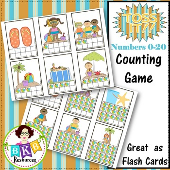 Ten Frame Counting Game - Summer Themed Toss It! Card Game