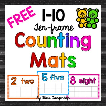 Ten-Frame Counting Mats 1-10 FREEBIE