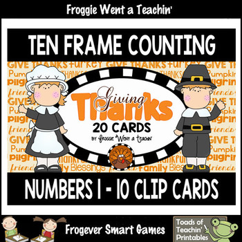 "Ten Frame Counting Numbers 1-10 ""Giving Thanks"""