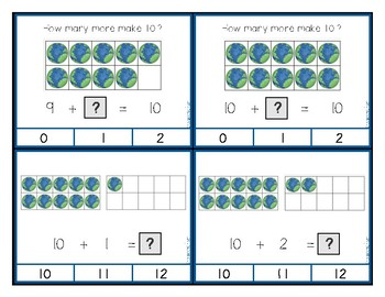 Ten Frame Counting and Addition Clip Cards - Earth Day
