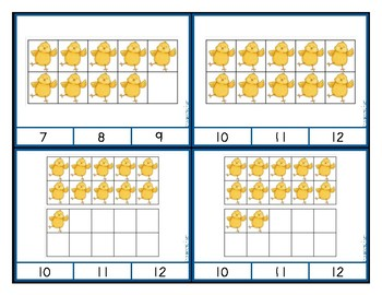 Ten Frame Counting and Addition Clip Cards - Spring Chicks