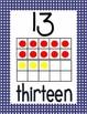 Ten Frame Display Posters #0-20 - NAVY Polka Dots