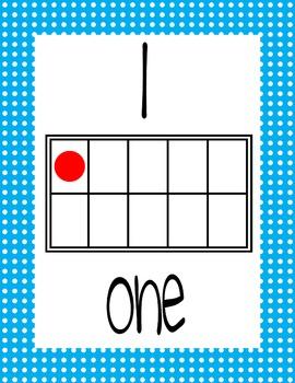 Ten Frame Display Posters #0-20 - BLUE Polka Dots