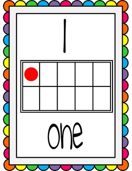 Ten Frame Display Posters #0-20 - Rainbow Scallops