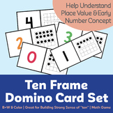 Ten Frame Domino Card Set (0-20) (Color + Black & White)