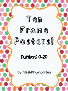 Ten Frame Posters 0-20 (Dot Theme)