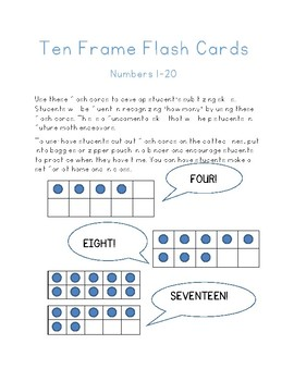 Ten Frame Flash Cards 1-20