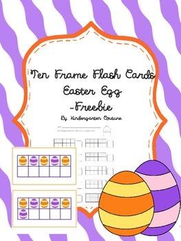 Ten Frame Flash Cards - Easter Egg - Freebie