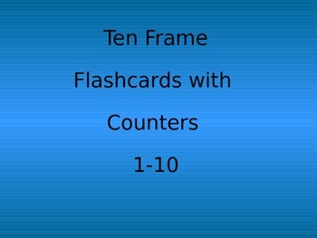 Ten Frame Flashcards with Counters 1 - 10 Kindergarten