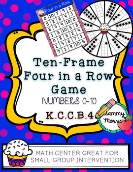 Ten-Frame Four In A Row Game (Numbers 0-10) Math Center