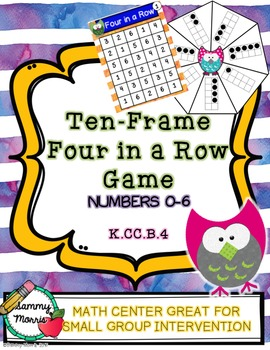 Ten-Frame Four In A Row Game (Numbers 0-6) Math Center