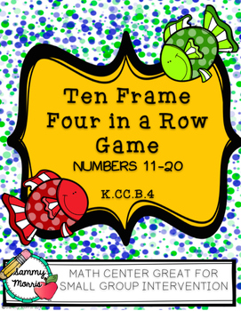 Ten Frame Four-In-A-Row Game (Numbers 11-20) Math Center