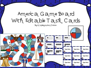 Ten Frame Game -America (With Editable Task Cards Included)