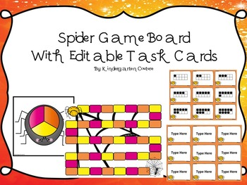 Ten Frame Game -Spider Theme (With Editable Task Cards Included)