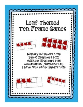 Ten Frame Games: Leaf-Themed