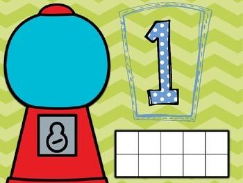 Ten Frame Gumball Playdough Mats (Numbers 1 -10)