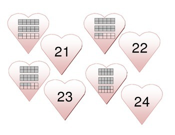 Ten Frame Heart Match-Up: Numbers 1-30