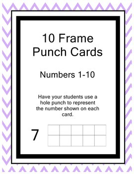 Ten Frame Hole Punch Cards--Numbers 1-10