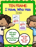 1st Grade Ten Frame Games: I Have, Who Has