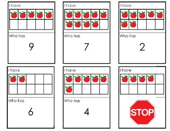 Ten Frame I have Who has game using numbers 1-10 apple themed