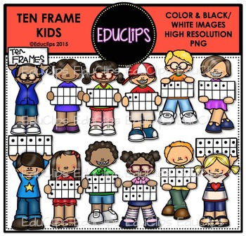 Ten Frame Kids Clip Art Bundle {Educlips Clipart}