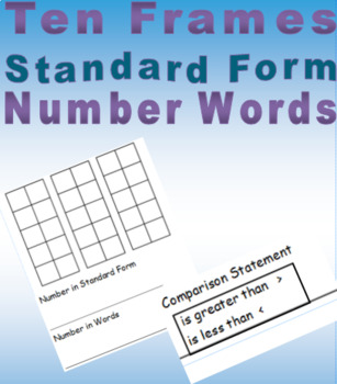Ten Frame Mat with Comparing three digits
