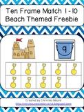 Ten Frame Match 1 - 10 Beach Themed {FREEBIE}