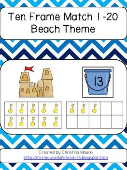 Ten Frame Match 1 - 20 Beach Themed