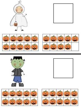 Ten Frame Match 1 - 20 Halloween Themed