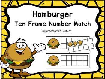 Free Ten Frame Match -Hamburgers
