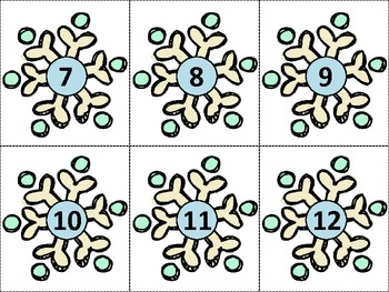 Ten Frame Match *Snowflake* {January} - Flash cards - Common Core Math