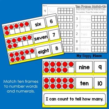 Ten Frame Match-Up: Kindergarten Math Center