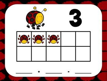 Ten Frame Mats and Ten Frame Flash Cards -Ladybug Theme