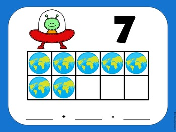 Ten Frame Mats and Flash Cards -Alien and Earth Theme