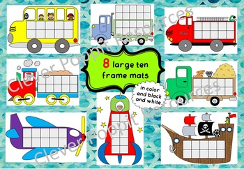 Ten Frame Mats and Games - Transport theme