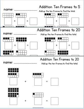 Ten Frame NO PREP Addition Practice Packet