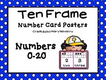 Ten Frame Number Card Posters 0-20 Blue and White Polka Dots