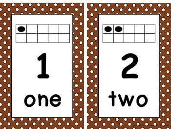 Ten Frame Number Card Posters 0-20 Brown and White Polka Dots