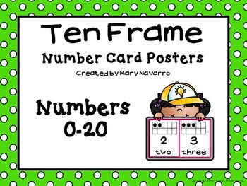 Ten Frame Number Card Posters 0-20 Green and White Polka Dots