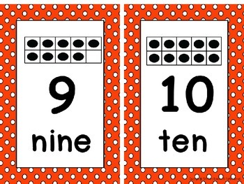 Ten Frame Number Card Posters 0-20 Orange and White Polka Dots
