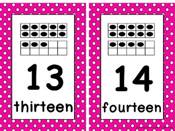 Ten Frame Number Card Posters 0-20 Pink and White Polka Dots