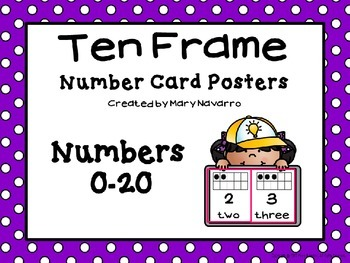 Ten Frame Number Card Posters 0-20 Purple and White Polka Dots