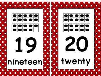 Ten Frame Number Card Posters 0-20 Red and White Polka Dots